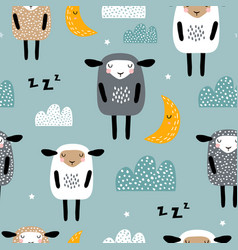 seamless pattern with cute sleeping sheep moon vector image