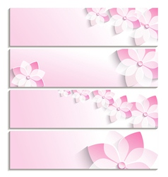 set banners with sakura pink template vector image