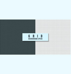 set black and white grid line with dot pattern vector image