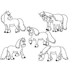 set cute cartoon horses vector image