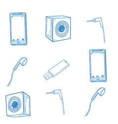 set hand drawn gadget icons vector image