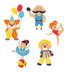 set of circus characters set of circus characters vector image