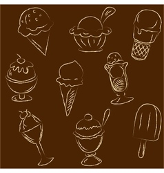 Set of ice creams sketches vector image
