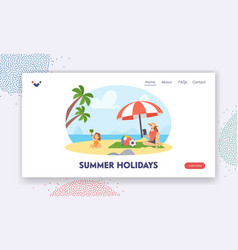 summer holidays landing page template happy vector image