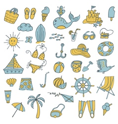 summer icons color vector image
