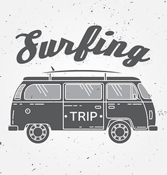 Surf trip concept Summer surfing retro badge Beach vector image