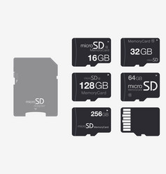 Top view micro sd to sd memory card adapter vector