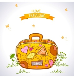 travel suitcase color vector image