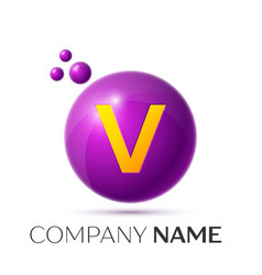 V letter splash purple dots and circle bubble vector