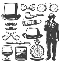 vintage gentleman elements set vector image