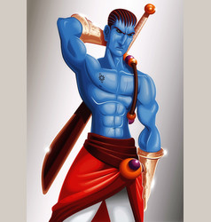 Warrior blue skin vector