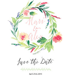 Watercolor save the date flowers vector image