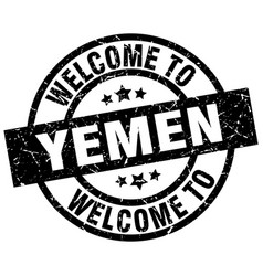 welcome to yemen black stamp vector image