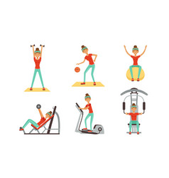 young woman doing different sport exercises vector image