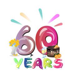 60th anniversary invitation card template vector image 60 years anniversary invitation card vector image stopboris Images