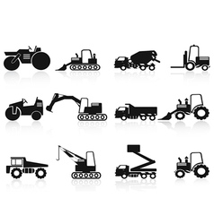 black Construction Vehicles icons set vector image