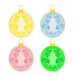 Christmas balls with ornaments christmas trimmings vector image