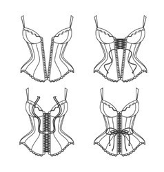 Corset Lacing Thin Line How To Lace vector image