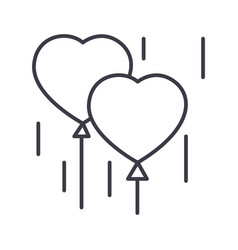heart balloons line icon sign vector image