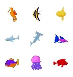 Marine fish icons set cartoon style vector