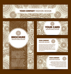 brown round ornament corporate identity design vector image vector image