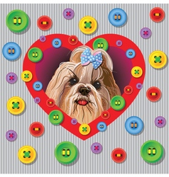 Card with a yorkshire terrier vector image