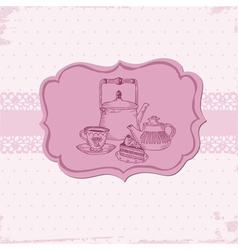 Cute Card with Cake and Teapots vector image