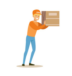 Delivery service worker holding big box on the vector