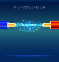 electric cable with sparks copper electrical vector image