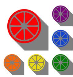 fruits lemon sign set of red orange yellow vector image vector image