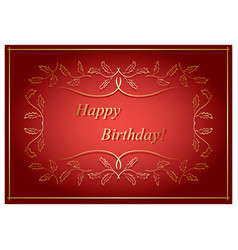 red and gold greeting card - happy birthday vector image vector image