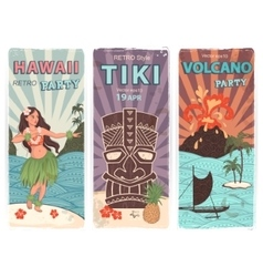 Retro set of banners with Hawaiian symbols vector image vector image