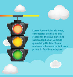 traffic light sky background template vector image