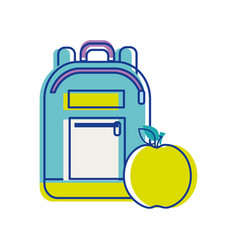 Bag study tool with apple fruit vector