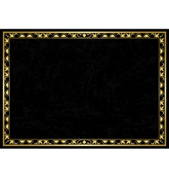 black grunge card with golden frame vector image