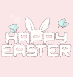 Happy easter furry inscription with butterfly vector