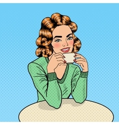 Pop Art Beautiful Woman Drinking Coffee in Cafe vector image vector image