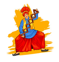 sikh punjabi sardar doing bhangra dance on holiday vector image vector image