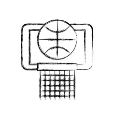 sketch draw basket ball in the hoop cartoon vector image vector image