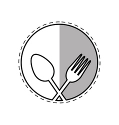 spoon and fork utensil kitchen label outline vector image