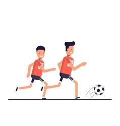 Two football players running after the ball Team vector image vector image