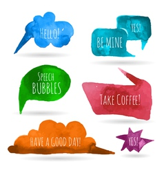Watercolor speech bubbles vector image