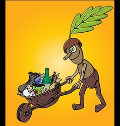 forest oak man cleaning garbage waste trash vector image