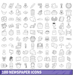 100 newspaper icons set outline style vector