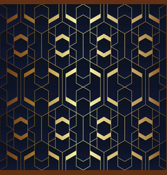 Abstract art seamless blue and golden pattern vector