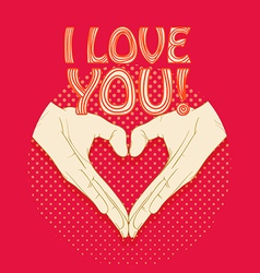 Abstract valentines heart of human hands Love you vector