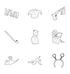 April fool day icons set outline style vector