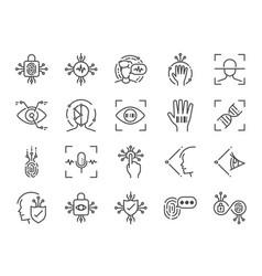 biometric line icon set vector image