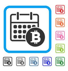 bitcoin calendar framed icon vector image
