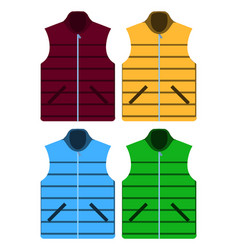 black color autumn fleece vest and jacket set vector image